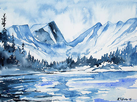 Watercolor - Dream Lake Winter Landscape by Cascade Colors