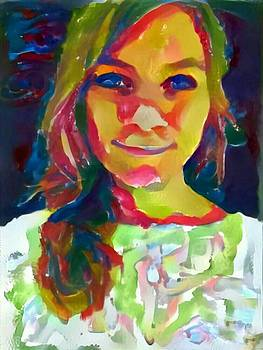 Watercolor Eve female portrait painting bathed in sunshine and vibrant color by MendyZ