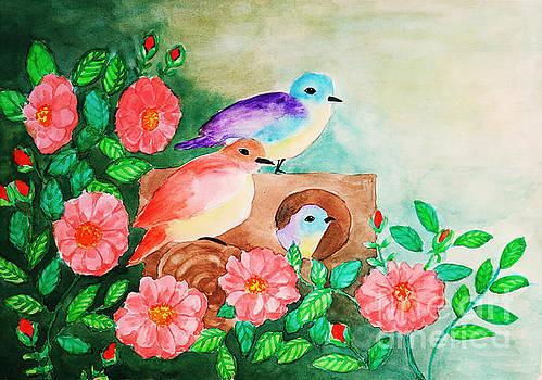 Watercolor Family Birds by Rasirote Buakeeree