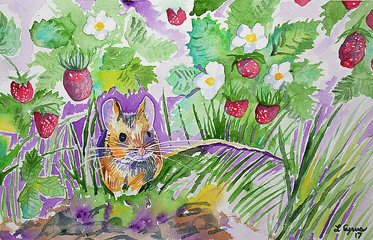 Watercolor - Field Mouse with Wild Strawberries by Cascade Colors