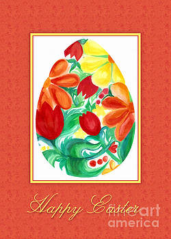 Watercolor Floral Egg by JH Designs