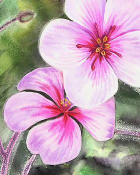 Watercolor Flowers Close Up Pink And Purple by Irina Sztukowski