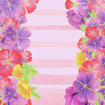 Watercolor Flowers Pink, Stripes For Baby Room Decor by Irina Sztukowski