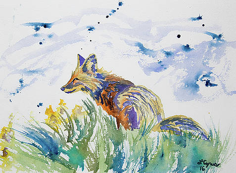 Watercolor - Fox on the Lookout by Cascade Colors