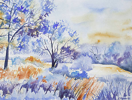 Watercolor - Frost and Snow Filled Winter Morning by Cascade Colors