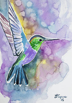 Watercolor - Green-crowned Wood Nymph by Cascade Colors