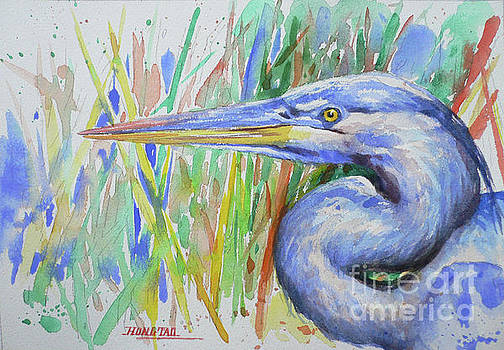 Watercolor Heron Bird #1745 by Hongtao Huang