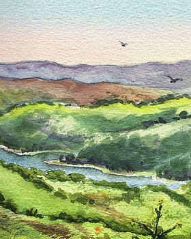 Watercolor Hills Of California by Irina Sztukowski