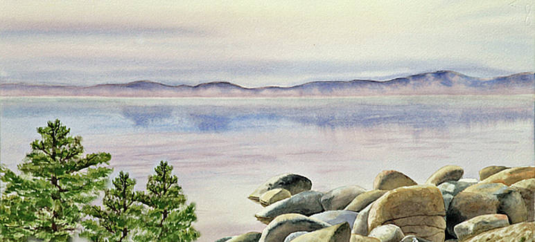 Watercolor Lake Shore by Irina Sztukowski