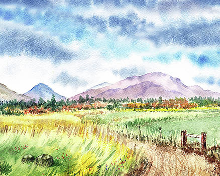 Watercolor Landscape Path To The Mountains by Irina Sztukowski