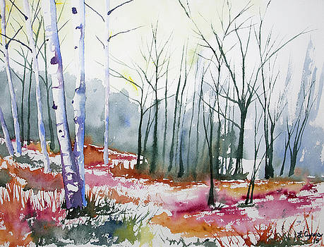 Watercolor - Late Autumn Forest by Cascade Colors