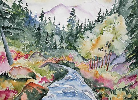 Watercolor - Long's Peak Autumn Landscape by Cascade Colors