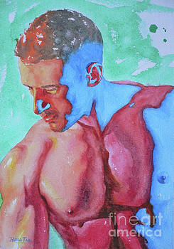 Watercolor Male Nude On Paper#16-12-27 by Hongtao Huang