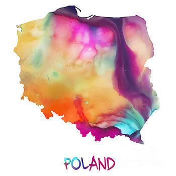 Justyna Jaszke JBJart - Watercolor map of Poland