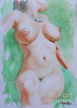 Watercolor naked girl on paper #16-12-7 by Hongtao Huang