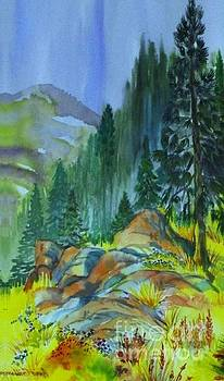 Watercolor of Mountain Forest by Annie Gibbons