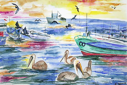 Watercolor - Off the Coast of Ecuador by Cascade Colors