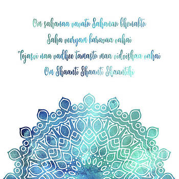 Watercolor Om Shaanti Yoga Opening Prayer Mandala by Leah McPhail