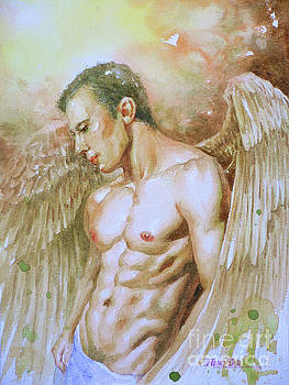 Watercolor Painting Angel Of Man #16-12-19 by Hongtao Huang