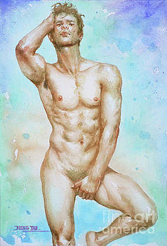 Watercolor Painting Male Nude #16-12-18 by Hongtao Huang