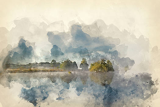 Watercolor painting of Calm still lake with mist hanging over wa by Matthew Gibson