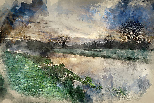 Watercolor painting of Countryside sunrise landscape with moody  by Matthew Gibson