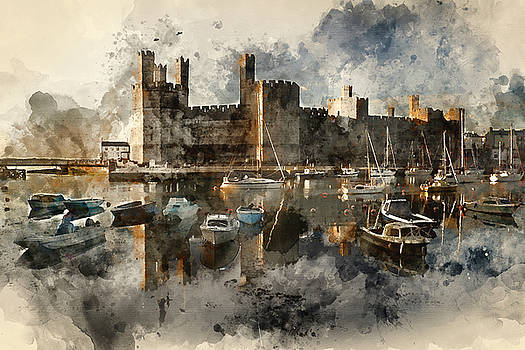 Watercolor painting of medieval castle overlooking harbour full  by Matthew Gibson