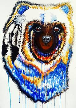Watercolor Painting of Spirit of the Bear by Ayasha Loya by Ayasha Loya