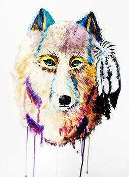 Watercolor Painting of Spirit of the Wolf by Ayasha Loya by Ayasha Loya