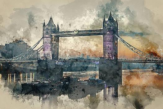 Watercolor painting of Stunning Autumn Fall sunrise over Tower Bridge and River Thames in London. by Matthew Gibson