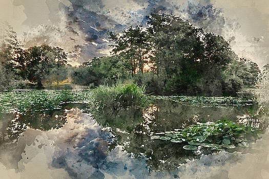 Watercolor painting of Stunning sunrise Summer landscape over ca by Matthew Gibson