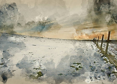 Watercolor painting of Winter snow landscape over fields with glowing sunset by Matthew Gibson