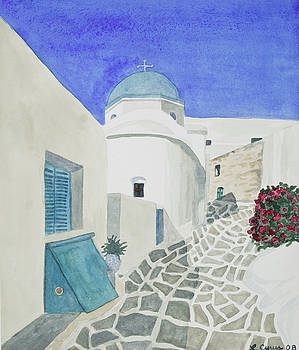 Watercolor - Paros Church and Street Scene by Cascade Colors