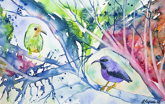 Watercolor - Purple Honeycreepers by Cascade Colors