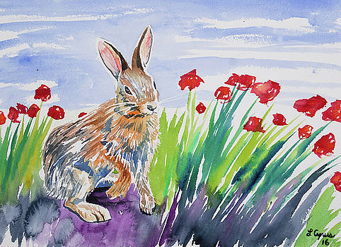 Watercolor - Rabbit with Poppies by Cascade Colors