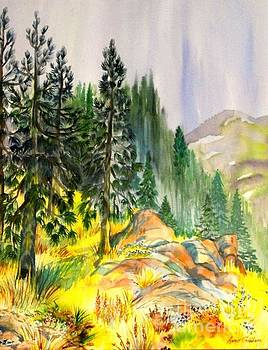 WaterColor, rain in pines by Annie Gibbons