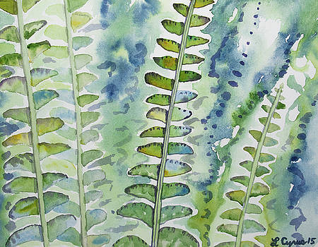 Watercolor - Rainforest Fern Impressions by Cascade Colors