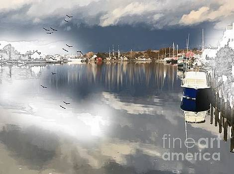 Watercolor Reflections in Mystic, Connecticut by Linda Ouellette