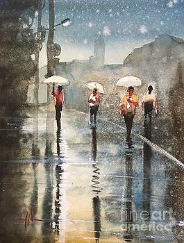 Watercolor Sketch of a Rainy Scene by Gareth Naylor
