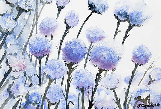 Watercolor - Snow-covered Seed Pods by Cascade Colors
