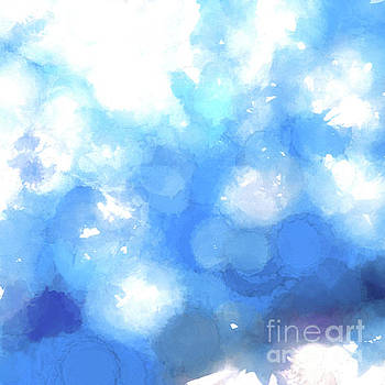 Watercolor Splatters-Blue Abstract   by Scott Cameron