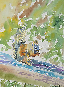 Watercolor - Squirrel Having a Meal by Cascade Colors