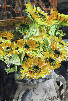 Watercolor Sunflowers by Randy Bell