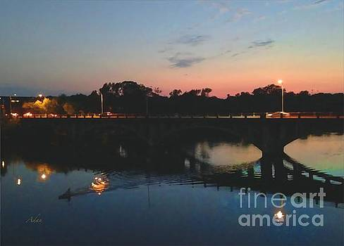 Felipe Adan Lerma - Watercolor Sunset Over Lamar Street Bridge Austin Texas