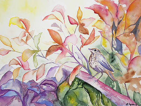 Watercolor - Thrush with Autumn Leaves by Cascade Colors