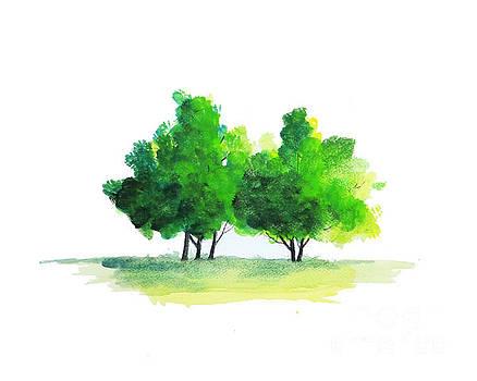 Watercolor tree by Rasirote Buakeeree