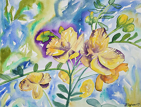 Watercolor - Tropical Yellow Flowers by Cascade Colors