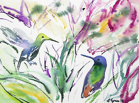 Watercolor - Two Hummingbirds by Cascade Colors