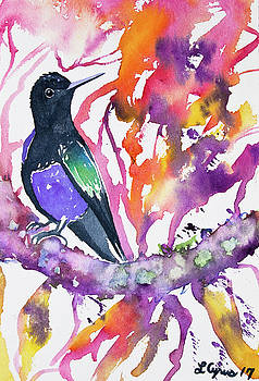 Watercolor - Velvet Purple Coronet with Colorful Background by Cascade Colors