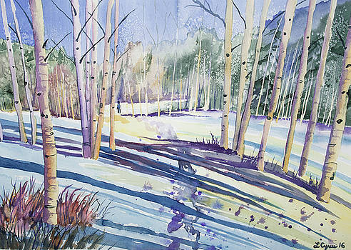 Watercolor - Walking Through the Winter Forest by Cascade Colors